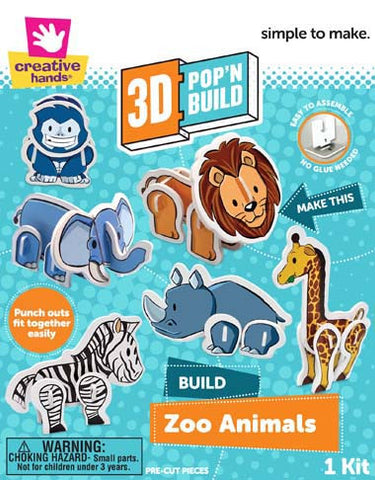 3D Pop 'n Build Zoo Animals
