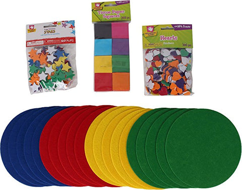 Creative Hands - Preschool Bundle - Arts and Crafts for Kids - 4 Items Including 20 Assorted Felt Circles,  120 Sticker Stars, 300 Heart Sticker and  30 Tissue Paper Squares