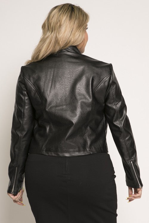 Faux Leather Bike Jacket (PLUS)