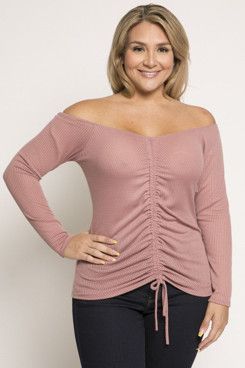 Long Sleeve Runched Top (PLUS)