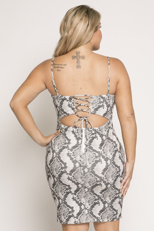 Snake Print Bodycon Dress (PLUS)