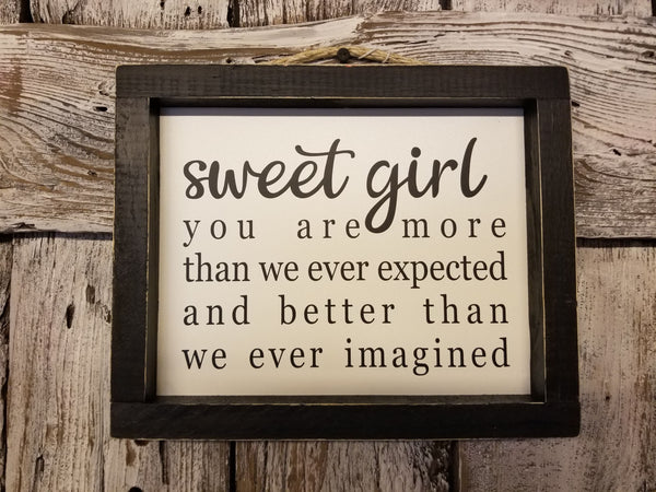 sweet girl Framed Sign, Nursery Decor Sign