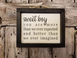 sweet boy Framed Sign, Nursery Decor Sign
