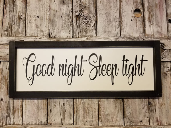 Good Night Sleep Tight Wood Framed Sign, Headboard Sign, Bedroom Decor