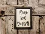 Please Seat Yourself Framed Sign, Cute Bathroom Decor Sign