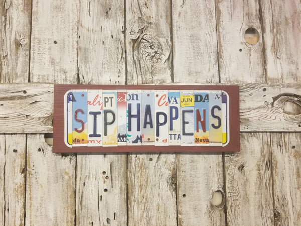 Sip Happens License Plate Sign, License Plate Decor, wine sign