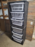 Grey Distressed Laundry Basket  Holder Unit