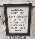 Bathroom Rules Framed Wood Sign