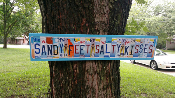 Sandy Feet Salty Kisses License Plate Letter Sign Unique and fun Wood Art Craft Any Word Saying Phrase License Plate Art License Plate Sign