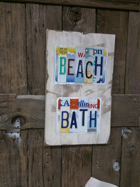 Beach Bath Sign License Plate Sign