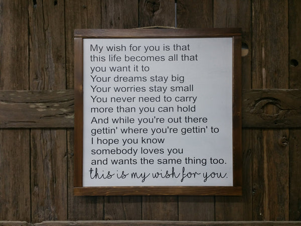 Framed Sign, My wish sign, gift for child, gift for her, gift for him, Love Sign, I Love You Sign, Large Sign, My Wish For You Sign