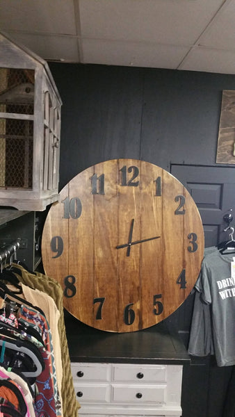 Clock Rustic, Large Clock, Large Rustic Clock, Home Decor, large wall decor, rustic planked clock, stained clock