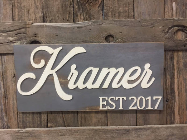 Wedding Name Sign, Wedding Gift, Anniversary gift, Est 2017, Cutout sign, Last name sign, Cut out word, Home Decor, Home Sign