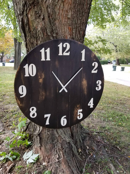 "Clock Rustic, Large Clock, Large Rustic Clock, Home Decor, large wall decor, rustic planked clock Black Stained clock, 42"" Clock"