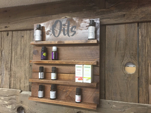 Essential oils Shelf, Oils Rack, essential oil rack, Oil Shelf, rustic rack, Essential Oils Display, Oil Display, Gift for her, Stained