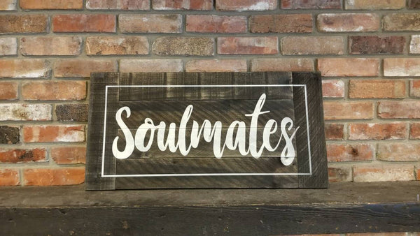 SOULMATES pallet sign, Valentine Gift, Valentine's Day Gift, gift for her, gift for him, headboard sign, Soul mates sign , Distressed Sign,