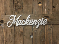 Name Cutouts, Baby Name Sign, Nursery Sign, Name Art, Word Art, Wood cutout sign, silver glitter sign, Mackenzie Sign, Cut out word