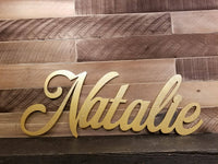 Name Natalie Cutouts, Baby Name Sign, Nursery Sign, Name Art, Word Art, Wood cutout sign, gold glitter sign, Natalie Sign, Cut out word