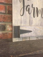 Welcome to our Farmhouse Faux Barn Door Sign