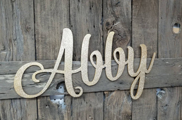 Name Cutouts, Baby Name Sign, Nursery Sign, Name Art, Word Art, Wood cutout sign, gold glitter sign, Abby Sign, Cut out word