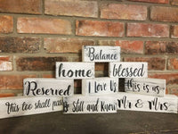 Block Sign, small block decor, balance sign, home sign, blessed sign, table sign
