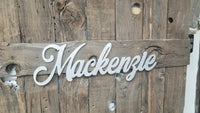 MacKenzie Name Cutouts, Baby Name Sign, Nursery Sign, Name Art, Word Art, Wood cutout sign, silver glitter sign, Name Sign, Cut out word