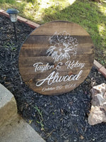 Custom Wedding Sign 24 Round Rustic planked Wedding Gift