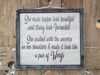Wings Sign, Strong Woman sign, Invincible, Gift for her, sympathy sign, loss sign, I Miss my Mom sign, Wood Sign, Framed Sign, Pair of Wings