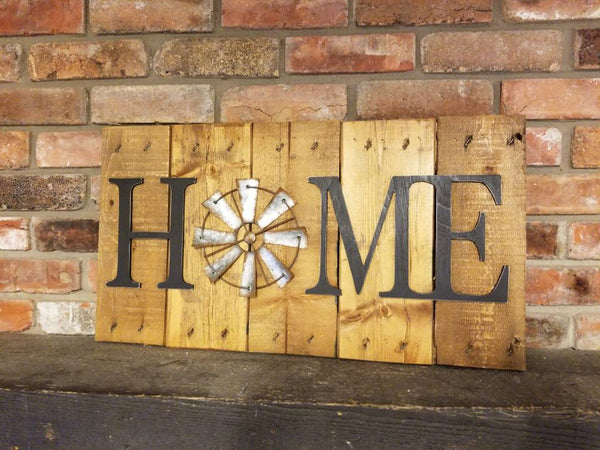 Home Sign with Windmill, Rustic decor
