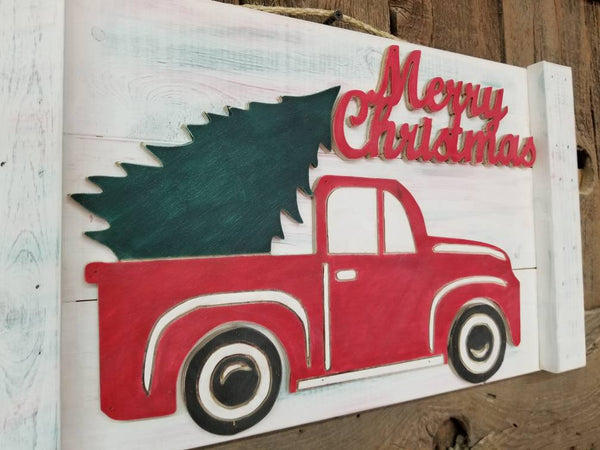 Christmas tree truck sign, farm truck sign