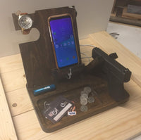 Custom Pic Phone Gun Charging Station, Nightstand Caddy, Phone Caddy, Gift for him
