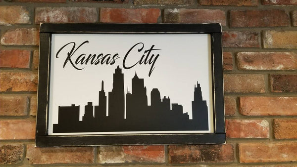 Kansas City Skyline Framed Sign 24x16