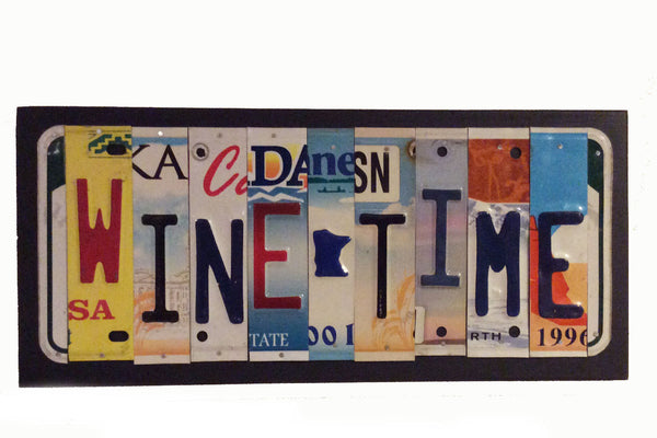 License Plate Sign License Plate letter Art Picture Home Deco WINE TIME License Plate Letter Sign, great wine gift sign