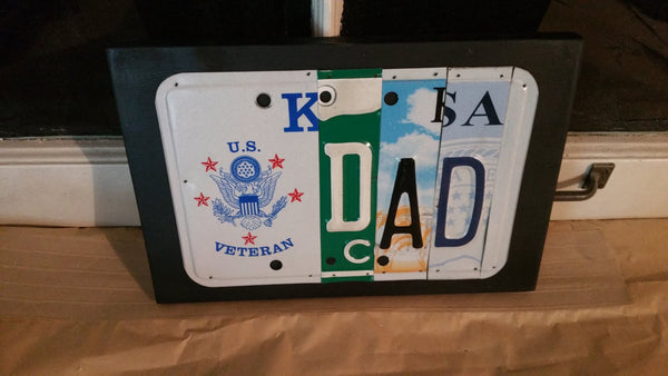 License Plate Sign License Plate letter Art Picture Home Deco Veteran Dad Garage License Plate Letter Sign, great Father's Day