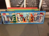 License Plate Sign License Plate letter Art Picture Home Deco LIVE LOVE SURF License Plate Letter Sign Beach Sign