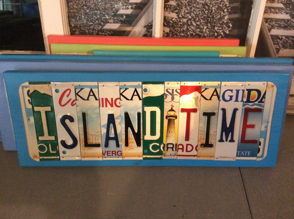 Island Time License Plate Art, License Plate Art, License Plate Decor
