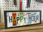 Happy Hour License Plate Sign, License Plate Art, License Plate Decor