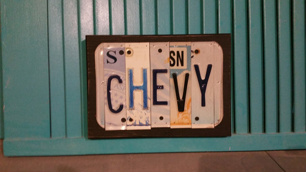 License Plate Sign License Plate letter Art Picture Home Deco CHEVY License Plate Letter Sign License Plate Art
