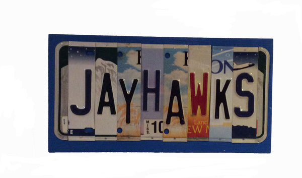 License Plate Sign License Plate letter Art Picture Home Deco Jayhawks License Plate Letter Sign License Plate Art KU Jayhawks