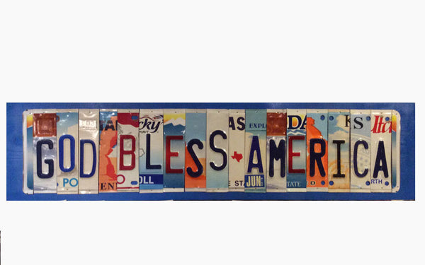 License Plate Sign License Plate letter Art Picture Home Deco GOD BLESS AMERICA License Plate Letter Sign License Plate Art