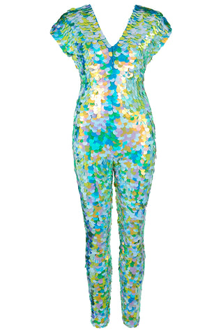 rosa bloom daydream mermaid jumpsuit sequin catsuit festival pale green