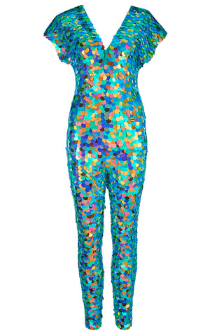 Flay lay of the Aphrodite sequin jumpsuit in Kaleidoscope
