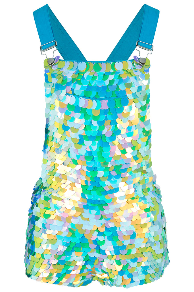 rosa bloom daydream bonnie short dungarees overalls sequin festival pastel blue green aqua