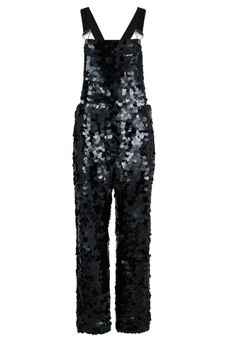 CLYDE SEQUIN DUNGAREES - BLACK