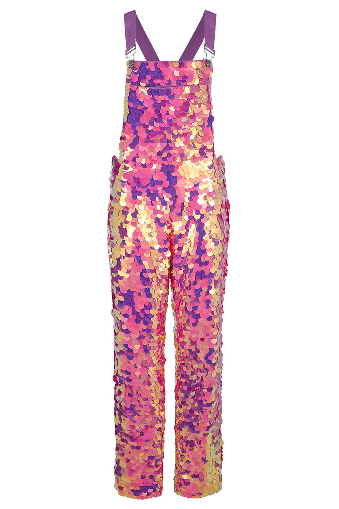 CLYDE SEQUIN DUNGAREES - FLAMINGO