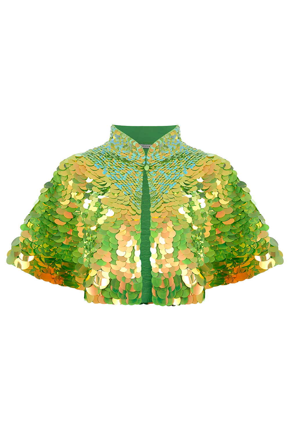 rosa bloom angelica lime green sequin festival party cape