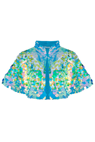 rosa bloom eclipse daydream sequin festival party cape pale blue green aqua