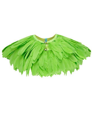 FIREBIRD FEATHER CAPE - LIME GREEN