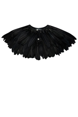 jet black feather cape