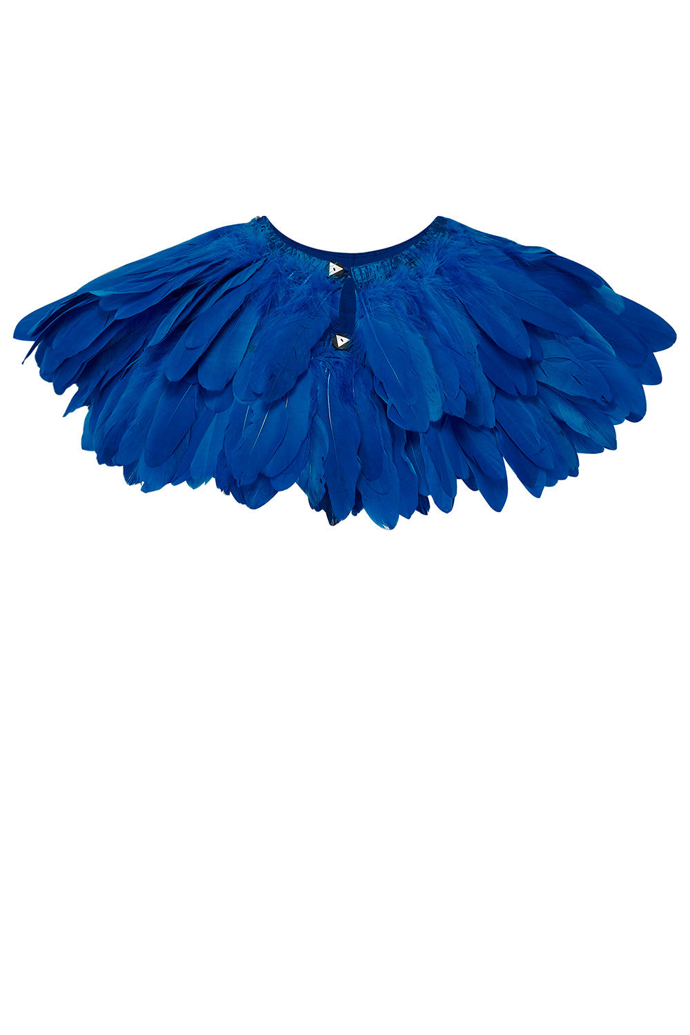 bright blue feather cape